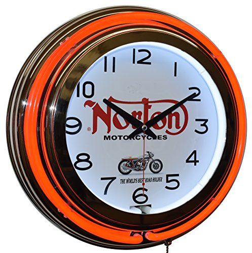 Norton Motorcycle Red Double Neon Clock Garage Man Cave Decor (Ford Cobra Neon Clock)