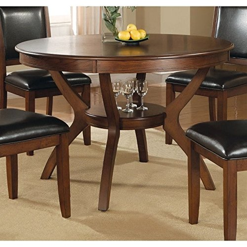 Coaster Home Furnishings Nelms Classic Modern Transitional Round Dining  Table With Storage Shelf   Deep Brown