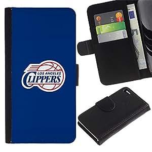 LA Clipper Baloncesto - la tarjeta de Crédito Slots PU Funda de cuero Monedero caso cubierta de piel Para Apple Apple iPhone 4 / iPhone 4S