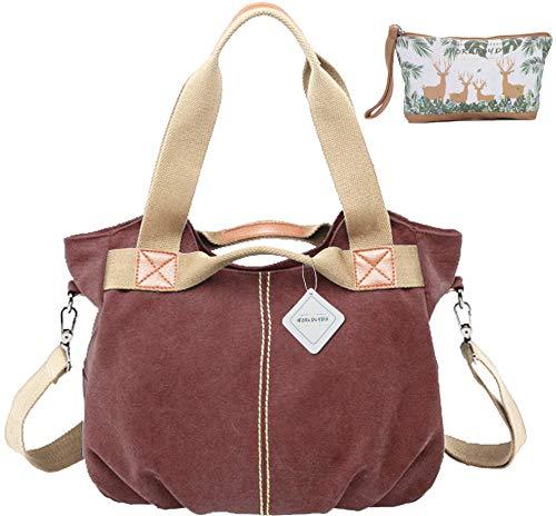 WORLDLYDA Women Ladies Canvas Hobo Bag Fashion Muti Straps Totes Satchels Purse Crossbody Shoulder Bag (Burgundy) - Strap Small With Satchel
