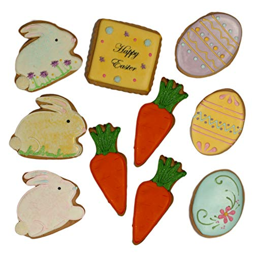 Easter Day Cookie Gift Basket 10 Pastel Decorated Cookies Bunny Eggs Carrots for Men Women Boys Girls Boyfriend Girlfriend Prime Delivery by Custom Cookies (Image #2)