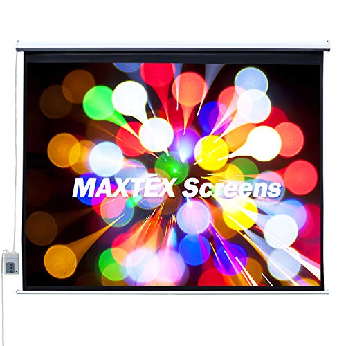 MAXTEX Electric Motorized Projector Screen, 100 inch Electric Projector Screen 16:9 HD Wall Ceiling Mounted Projection Screen Drop Down Projection Screen Home Cinemas and Offices