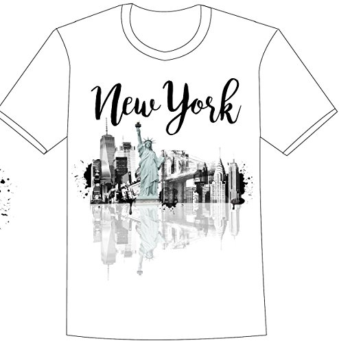 New York City Skyline Unique Reflection T-Shirt- featuring Artsy Design (Large) by CityDreamShop (Image #2)