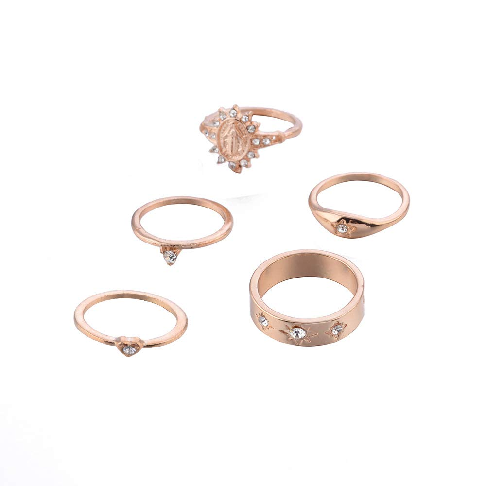 Knuckle Rings for Women,Vintage Gold Ring Set for Girl,Boho Crystal Joint Stackable Rings
