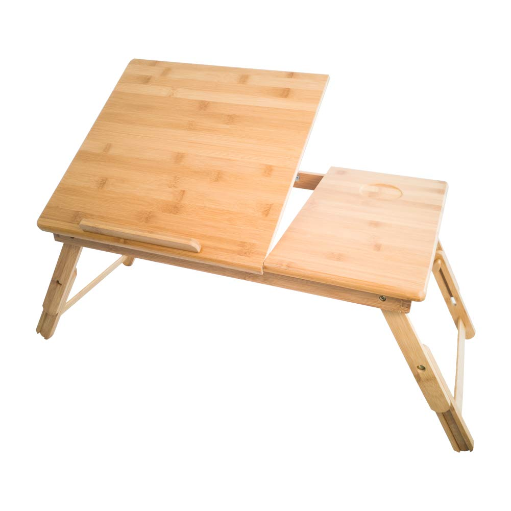 KKTONER Laptop Stand Lap Desk Table with Adjustable Leg 100% Bamboo Foldable Breakfast Serving Bed Tray Natural Color