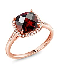 2.40 Ct Cushion Checkerboard Red Garnet 10K Rose Gold Engagement Ring with Diamond Accent (Available 5,6,7,8,9)