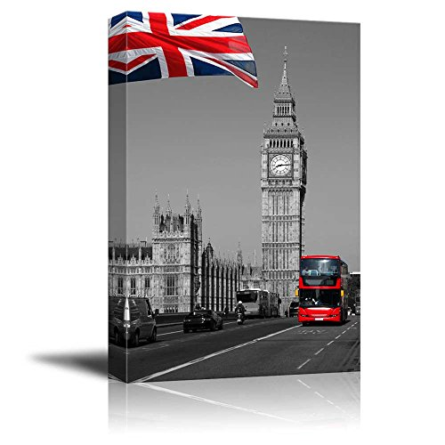 Pop of Color the British Flag and the Red Bus in London Red Color Stands out against Black and White Background