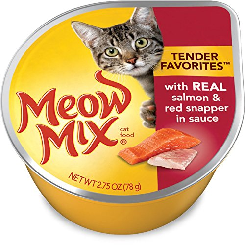Meow Mix Tender Favorites With Real Salmon & Red Snapper in Sauce Wet Cat Food, 2.75 oz (Pack of 12)
