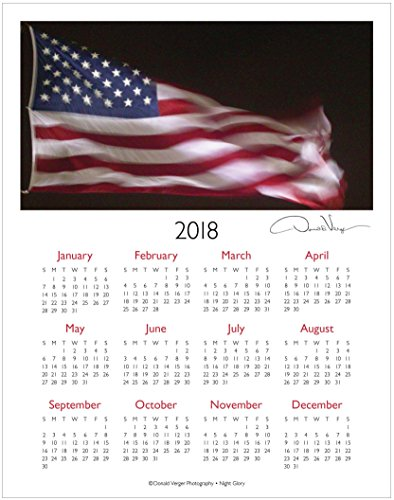 2018 American Flag One Page Fine Art Wall Calendar. Night Glory. 11x14 For Framing. Best Quality Birthday, Christmas, Mother's Day & Valentines Gifts for Women, Men & Kids. Unique Idea for Him & Her.
