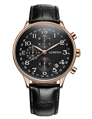 GOHUOS Men's Sport Military Chronograph Leather Calendar Quartz 24 Hr Wrist Watch - Wrist Hr Watch 24