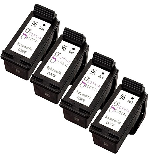 Sophia Global Remanufactured Ink Cartridge Replacement for HP 96 (4 Black)