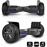 """CHO All Terrain Black Rugged 8.5"""" Inch Wheels Hoverboard Off-Road Smart Self Balancing Electric Scooter LED Lights UL2272 Certified (Black)"""