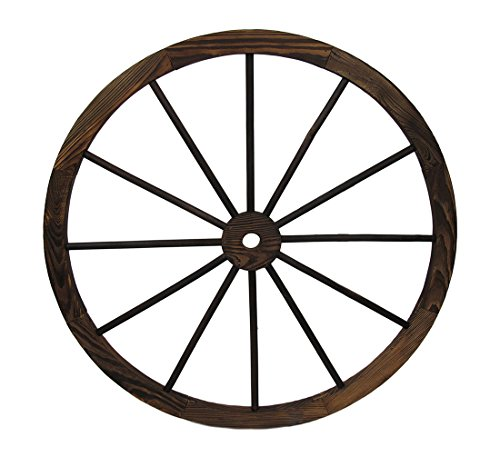 Zeckos Wood Wall Sculptures Wooden Wagon Wheel Decorative Wall Hanging 32 In. 32 X 32 X 1 Inches Brown