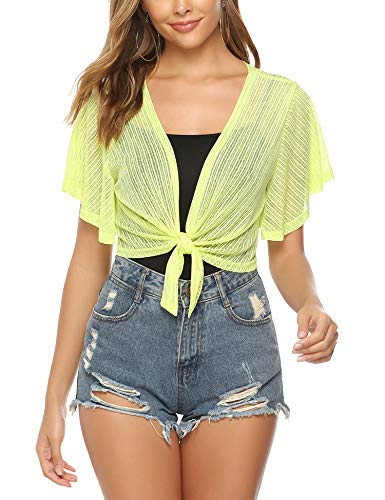 iClosam Women Sheer Shrug Tie Front Short Sleeve Cropped Bolero Shrug Cardigan