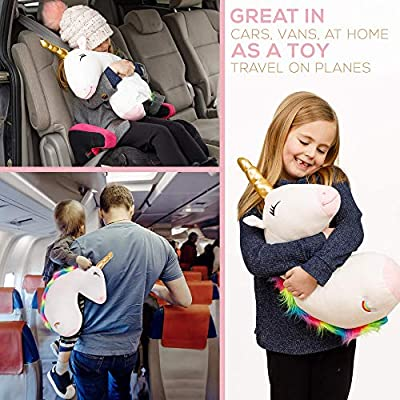 Car Seatbelt Covers Children Road Trip Travel Cushion Head Support Shoulder Pads Belt Strap Protector Headrest Sleeping Pillow Cotton,Double Fastener Gray AMEMEWA Seat Belt Pillow for Kids