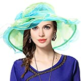 VECRY Fascinating Tea Party Church Dress Bridal Shower Wedding Derby Hat (Flounce-Teal)