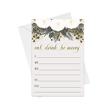 Be Merry Christmas Party Invitations With Envelopes 25 Pack Fill In Blank Invites For Holiday Celebrations Festive Dinner Cocktail Parties