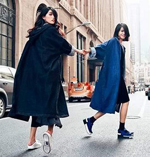 Donna Baggy Cappotto Jacket Denim Colori Giacca Schwarz Jeans Outerwear Style Lunga Solidi Autunno Casuale Manica Festa Primaverile Moda Con Giovane Ragazze Eleganti Cappuccio qxffwnEOR
