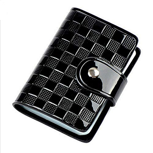Woman Patent Leather ID Credit Card Case Holder Pocket Bags Wallet Organizor (Color - Black)