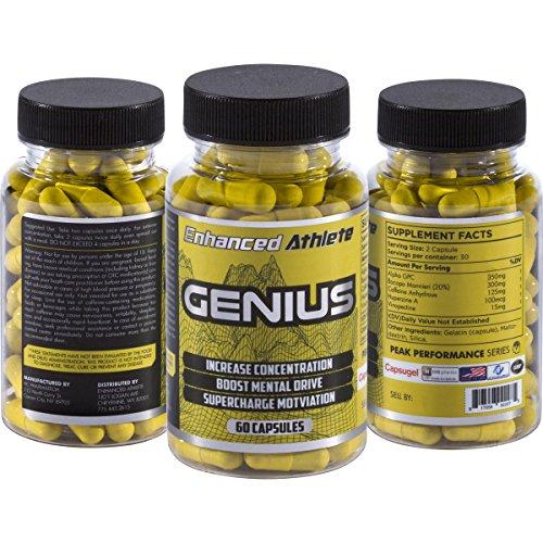 Enhanced Athlete Genius - Brain Nootropic Supplement - Boost Memory, Energy, Clarity & Focus - Brain Booster - 60 Capsules
