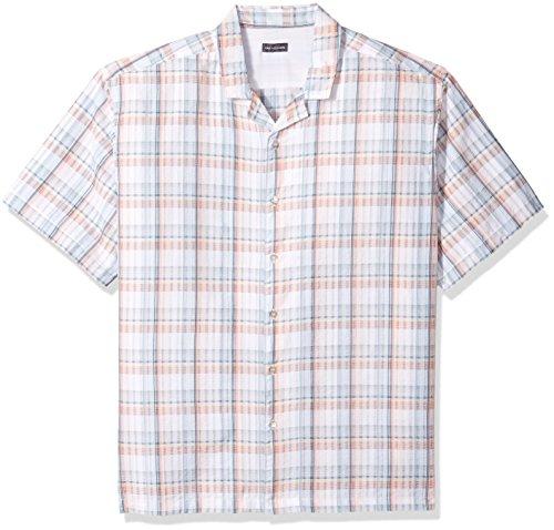 Van Heusen Men's Air Seersucker Short Sleeve Button Down Poly Rayon Plaid Shirt, Turquoise Haze, Large ()