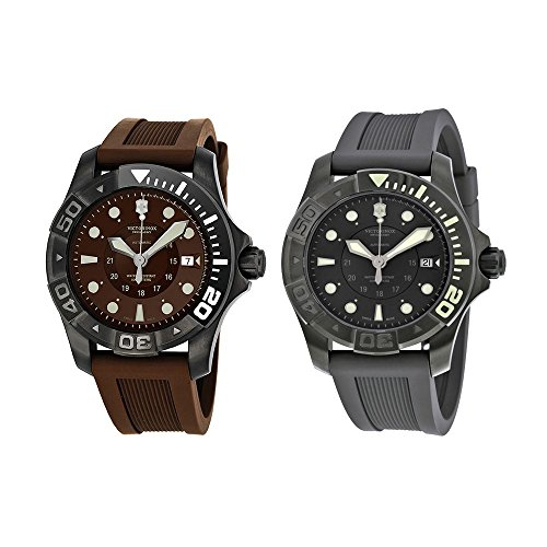 Victorinox Swiss Army Dive Master 500 Brown Dial Brown Rubber Mens Watch 241562