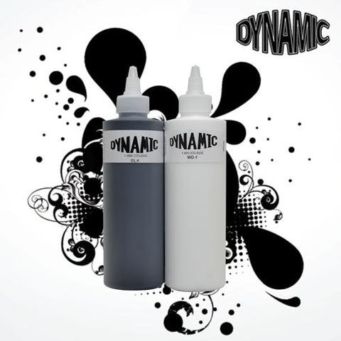 (8 oz Dynamic Black & 8 oz Dynamic White Combo Tattoo Ink With Free After inked Pillow Pack)
