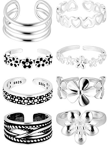 BBTO 8 Pieces Adjustable Knuckle Ring Open Toe Rings Various Types Knuckle Ring Set for Women and Men, Silver (Style 1)