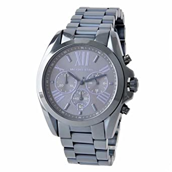 628e3825703d Image Unavailable. Image not available for. Color  Michael Kors Oversized  Bradshaw Blue Dial Stainless ...