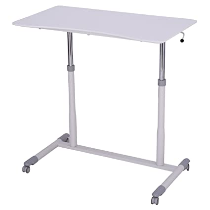 Etonnant White Rolling Adjustable Height Laptop Table Computer Desk Sit To Stand  With Ebook