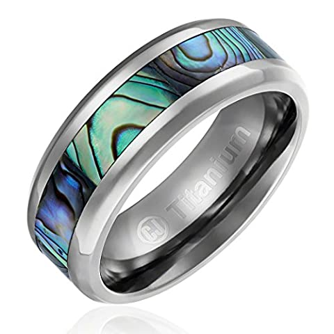 8MM Comfort Fit Titanium Wedding Band | Engagement Ring with Abalone Shell Inlay | Beveled Edges [Size (Abalone Inlay Band Ring)