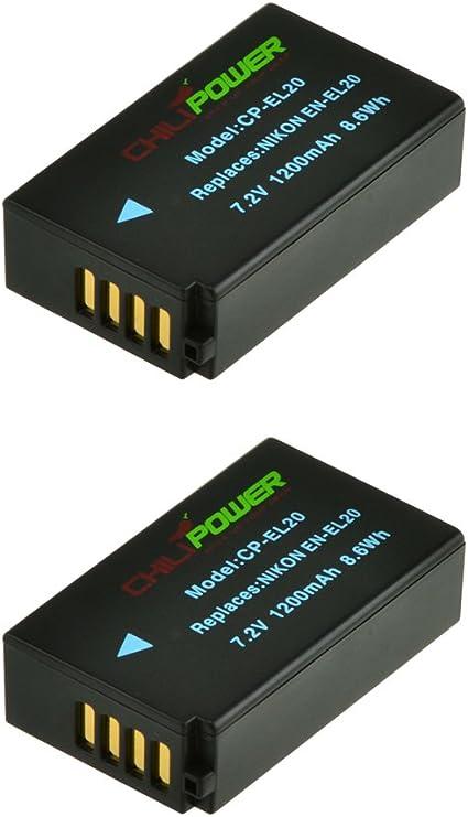 ChiliPower 2-Pack EN-EL20, ENEL20 (1200mAh) Batería para Nikon 1 ...