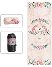 """PIDO Yoga Mat Towel Non Slip Sweat Absorbent Hot Yoga Towel Convenient Widened Folded Fitness Blanket with Bag 72""""x26"""" Christmas for Women"""