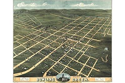 Map of Bowling Green, Kentucky; 1871; Antique Birdseye Map