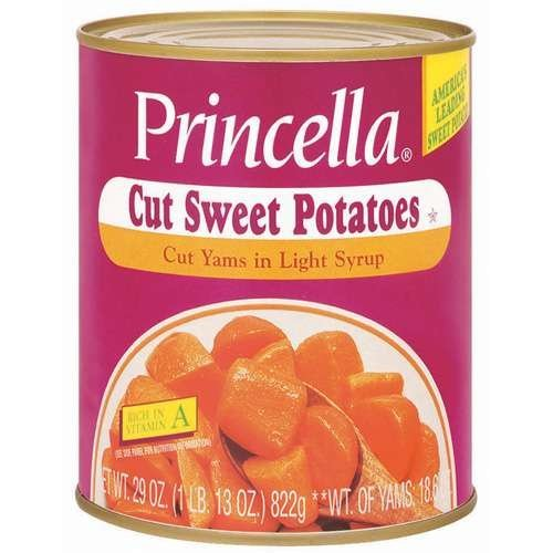 Princella Cut Yams in Light Syrup 29 Oz Cans (Pack of 4) by Princella