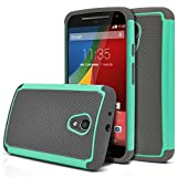Moto G 2nd Gen Case, MagicMobile [Dual Armor Series] Hybrid Impact Resistant Moto G 2nd Generation Shockproof Tough Case Hard Plastic with Silicone Protective Case for Moto G 2 (2014) [Gray/Turquoise]