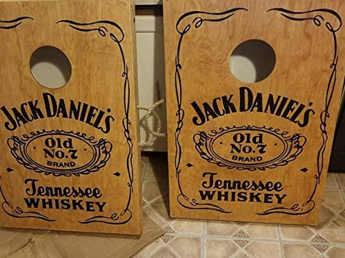 Now taking Christmas PreOrders! Free Shipping Custom Built Hand Painted Jack Daniels Tennessee Whiskey Cornhole Boards with Bags Included