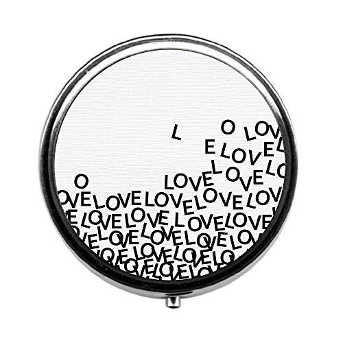 Pill Box 3 Times a Day,Love Travel Pill Case Round Pill Box with Mini Makeup Mirror Diameter 4.5 cm