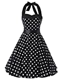 Ensnovo Womens Retro 1950s Vintage Halter Polka Dot Pinup Swing Dress Black L