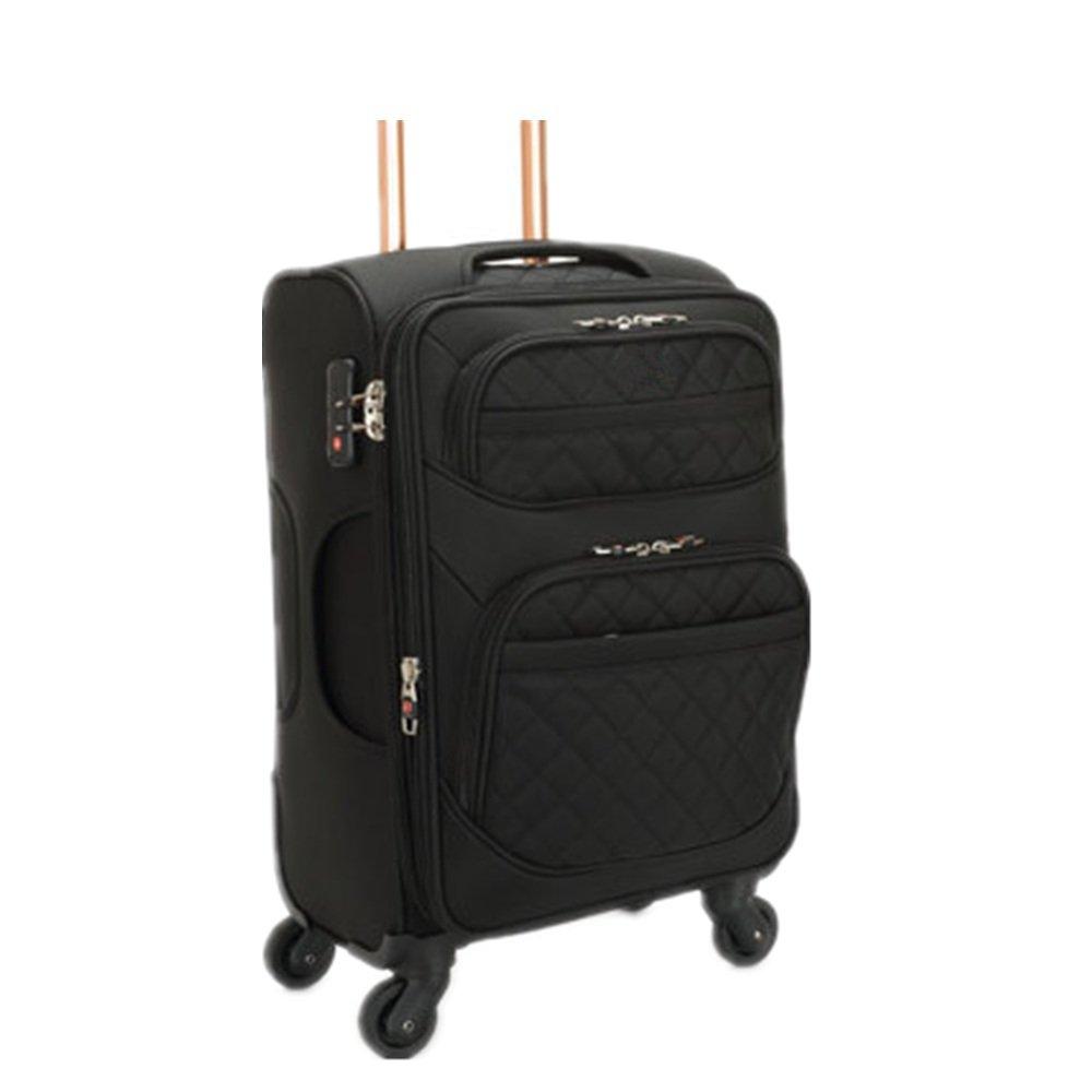 荷物ケース, スーツケース, オックスフォードプーリーボックスユニバーサルホイール、スチールケーススーツケース20/24/28インチ 荷物エアボックス (色 : ブラック) B07TYHJ7CS ブラック