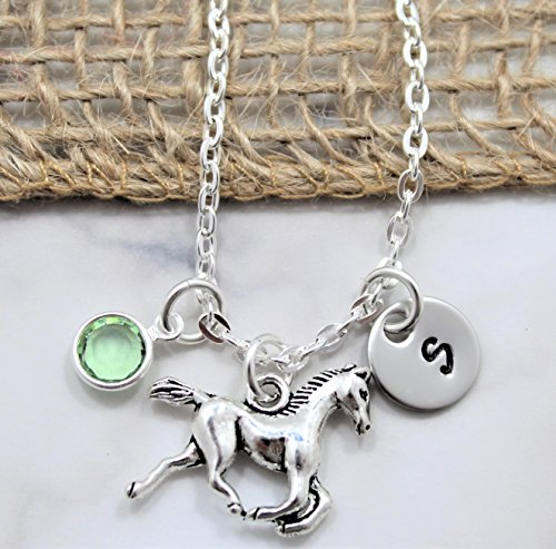 Horse Necklace - Horseback Riding Rodeo Jewelry - Horse Lover Gift - Little Girls Gift - Personalized Birthstone, Initial, & Chain Length - Fast Shipping