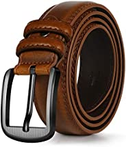 ITIEZY Men's Genuine Leather Dress Belt, Classic Casual Jeans Belt with Single Prong Bu