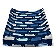 Plush Changing Pad Cover By the Sea Navy Blue Whale
