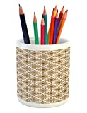Ambesonne Ethnic Pencil Pen Holder, Thai Mosaic Art Culture Stylized Abstract Lines Dots Pattern Folk Asian Design, Printed Ceramic Pencil Pen Holder for Desk Office Accessory, Redwood White