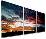 Mon Art 12x12 Inch x3 Pics Burning Dark Clouds Sunset Oil Painting Wall Art Modern Canvas Decor Abstract Picture on Canvas Gallery Black Golden Blue Red Stretched and Framed Ready to Hang
