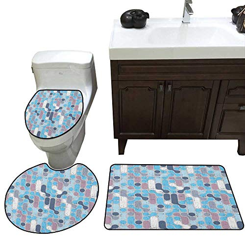- Abstract 3 Piece Toilet mat Set Grunge Retro Stylish Pattern with Circles Large Dots Rounds Artwork Bathroom and Toilet mat Set Pale and Sky Blue Mauve