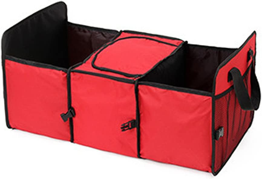Rugged and Durable for Hauling Cargo YIOVVOM Trunk Organizer SUV and Truck Red Best for Keeping All Truck Supplies Together Organizer for Car While Folding Flat for Easy Storage