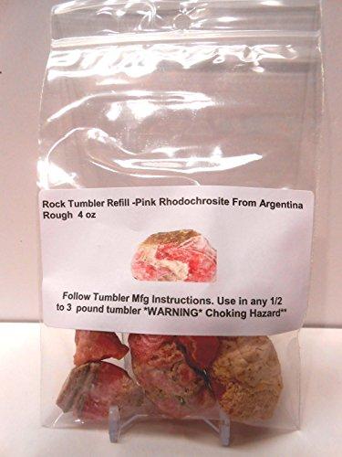 (Rock Tumbler Gem Refill Kit Genuine & Rare Argentina Banded Pink Rhodochrosite Rough 4 oz)