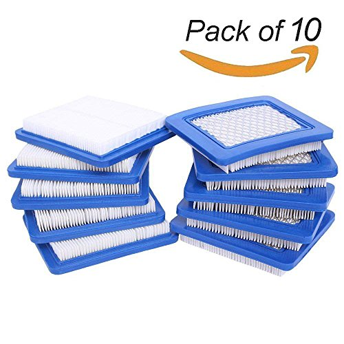 HEYZLASS 10 Pack 491588S Air Filter, Replace for Briggs Stratton 491588 4915885 Flat OEM Air Cleaner Cartridge, Lawn Mower Air Filter (Stratton Air Cleaner)