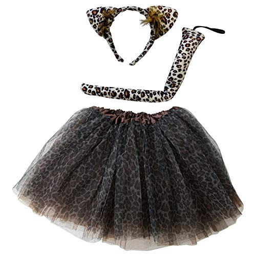 So Sydney Kids Teen Adult Plus 2-3 Pc Tutu Skirt, Ears, Tail Headband Costume Halloween Outfit (M (Kid Size), Cheetah Brown)